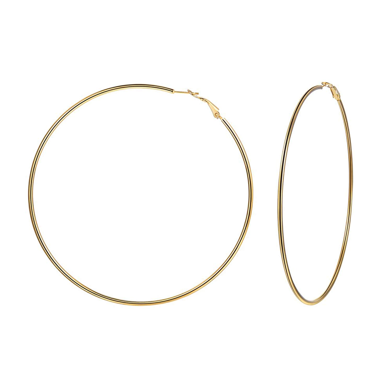 a611f54b8 Get Quotations · U7 Hoop Earrings for Women Stainless Steel/Black Gun  Plated/18K Gold Plated Size
