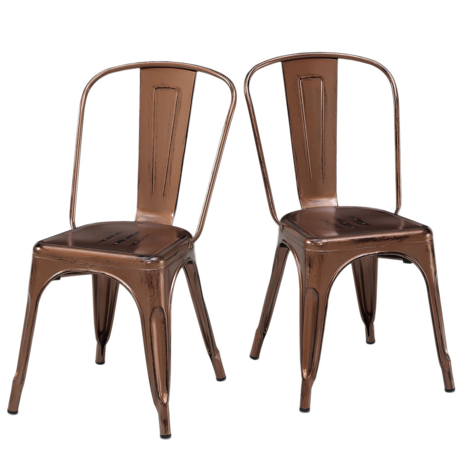 Set of 2 Antique Copper Metallic Steel Xavier Pauchard Tolix A Style Chairs Includes ModHaus Living (TM) Pen
