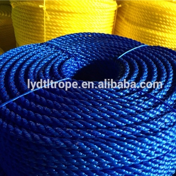 Polyethylene PP 3/4 Strands twisted PE Rope used on shipping marine packing china factory