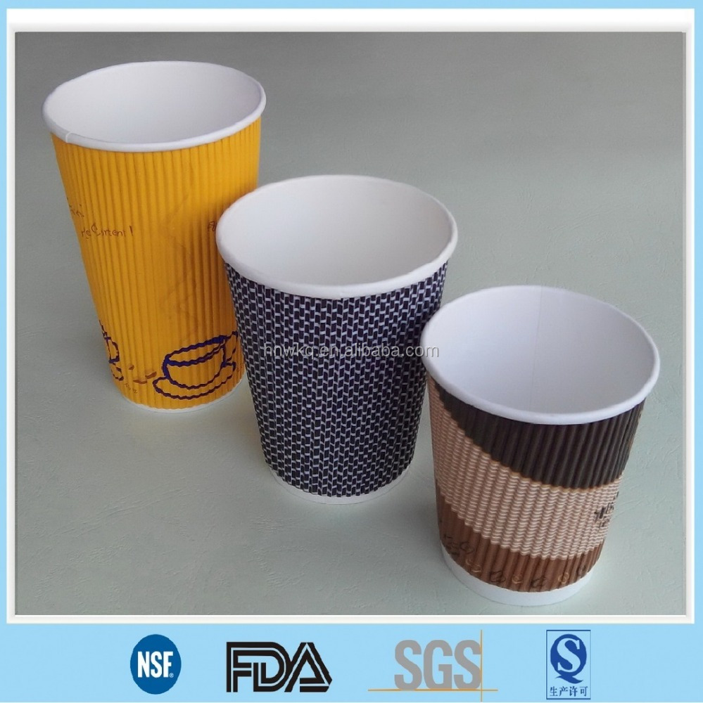 online selling for disposable paper cup with ripple style