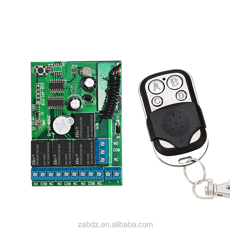 Hot ! New 12v 4 Channel Wireless Remote Control Receiver Momentary / Latch/Toggle Switch (ZAB-4PC+ZY1-4)