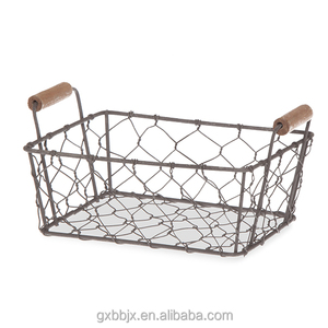 Wholesales Household Storage Type Mini Rectangular Wire Mesh Utility Basket with Wooden Side Handles