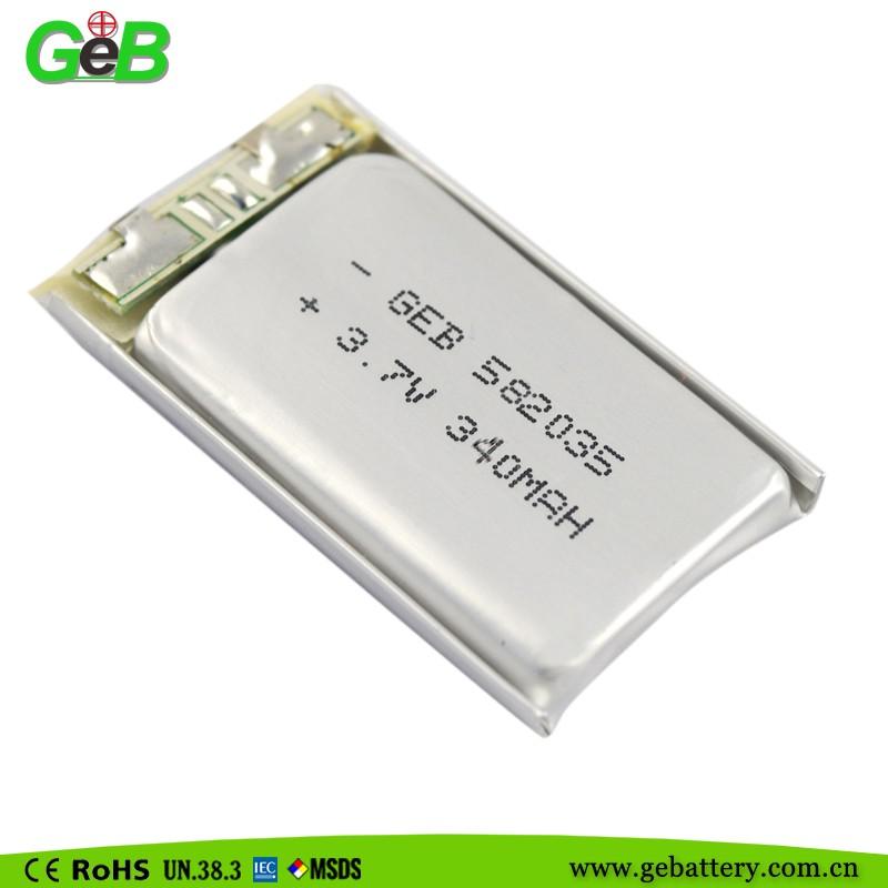 Siêu Tụ Điện Lithium Polymer 582035 3 7 V 340 Mah Có Thể Sạc Lại Lipo  Phẳng/pouch Pin - Buy Pin Lipo,Lithium Polymer Pin 3 7 V,Lithium
