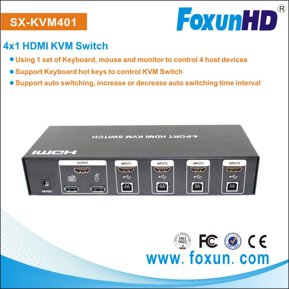 Foxun SX-KVM401HDMI KVM Switch with USB port 4 input 1 output rs485 hub