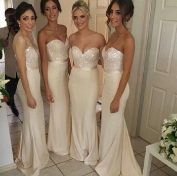 New Arrival 2018 Sweetheart Elegant White Backless Satin Sleeveless Mermaid Bridesmaid Dress