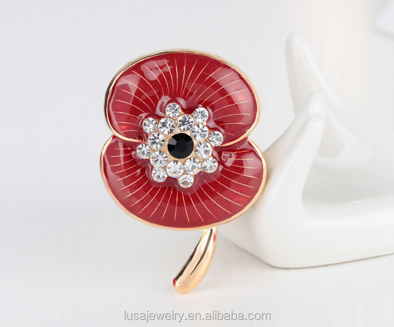 Custom made red enamel poppy brooch for wholesale BRL0283