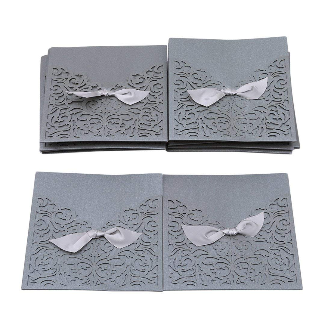 UNKE 25 Pcs Elegant Laser Cut Lace Square Wedding Party Invitations Cards with Envelopes for Wedding Marriage Birthday Bridal Bride Shower Party,Silver Gray