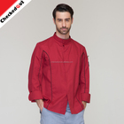 Promotional long sleeve chef coat,unisex functional restaurant uniform kitchen hotel wine red kitchen staff uniforms