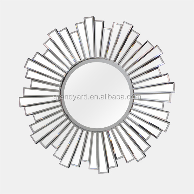 2018 Hot Sale Speical Designed Round Sunburst Decorative Bevelled High Quality Hotel Wall Mirror
