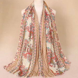 Custom design Women Fashion Scarfs floral print flower voile scarves muslim hijab