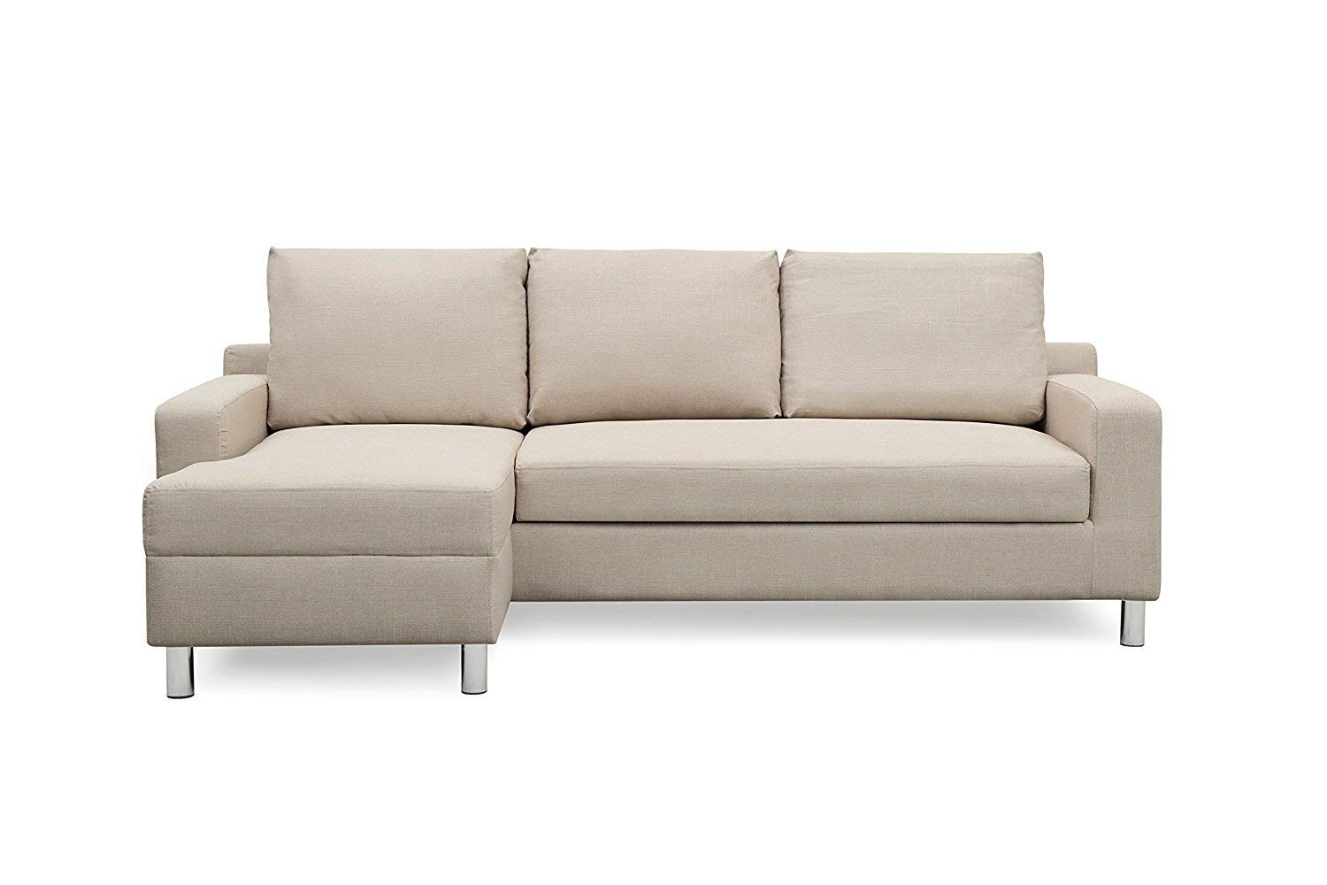 """Container Furniture Direct S0114-L Amelie Linen Upholstered Contemporary Modern Left-Sided Sectional Sofa with Bed, 83.9"""", Beige"""
