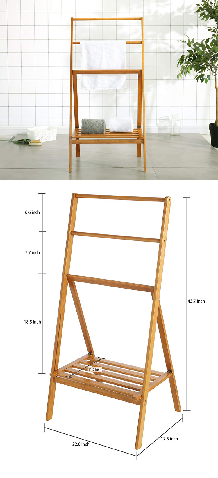 Freestanding 43 Inch Bamboo Folding Towel Stand Shelf