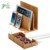 Bamboo Wood Multi-Device Desktop Charging Dock Station with Charger Holder Cradle Stand Compatible