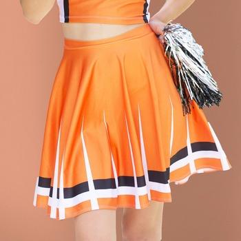 62975af23 Moshiner Mini Skirts Polyester Spandex High Waist Orange Cheerleading Sexy  Young Girls Mini Skirts