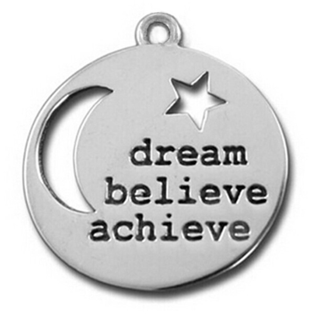 CH971129 Antique Silver Plating Moon And Star Dream Believe Achieve <strong>Charms</strong> & Pendants For Jewelry Accessories DIY