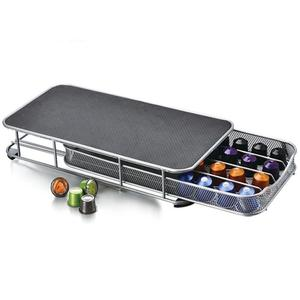 Countertop Metal Chrome 40 Pod Nespresso Coffee Capsules Storage Drawer For Home Kitchen Coffee Pod Holder