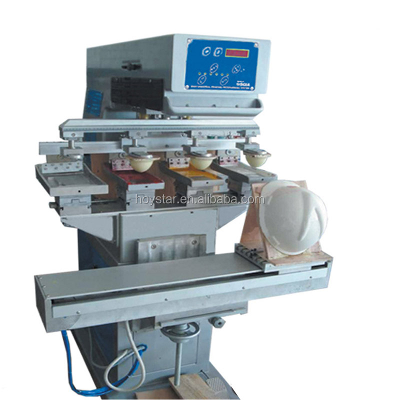 Hard hat pad printing machine for printing 4 color with ink tray GW-M4/S-1