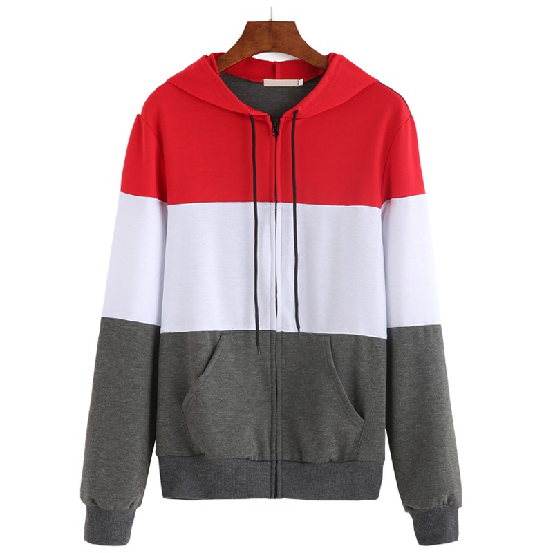 Unisex Cotton Color Block Drawstring Hooded Zip Up Hoodie