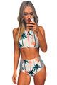 Retro Beach Swimsuit Bathing Suit Swimsuit Low Waist Bikini Swimwear Palm Tree Printed Stripe Tankini Crop