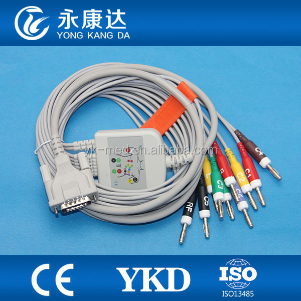 Compatible Schiller,bionet,von berg , EKG cable with 10 leadwires , IEC , Banana 4.0