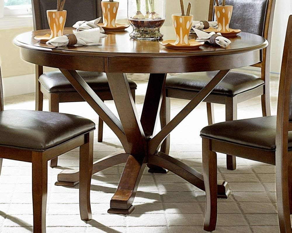 Benzara BM175982 Wooden Round Dining Table, One Size, Brown