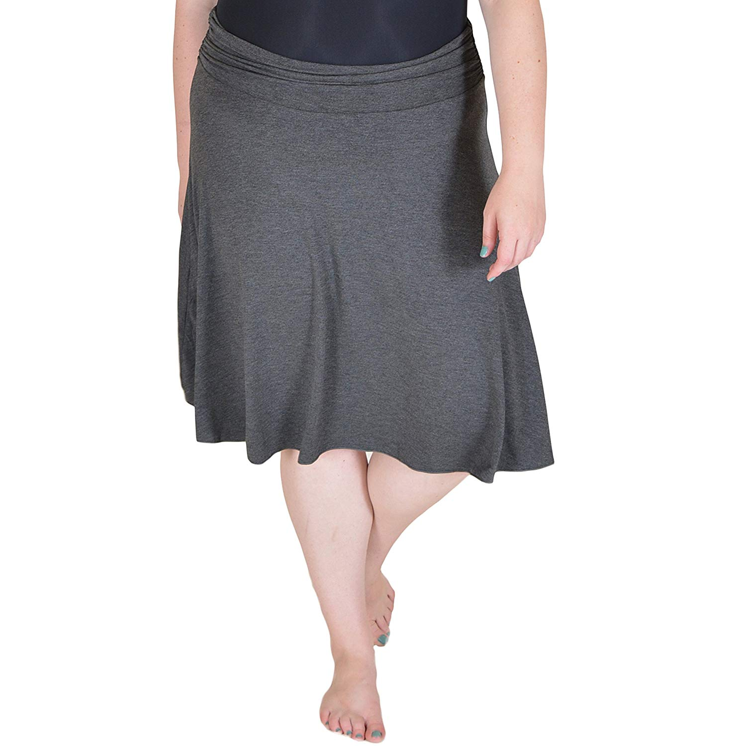 7e11c6925c Get Quotations · Stretch is Comfort Women's Plus Size Knee Length Flowy  Skirt