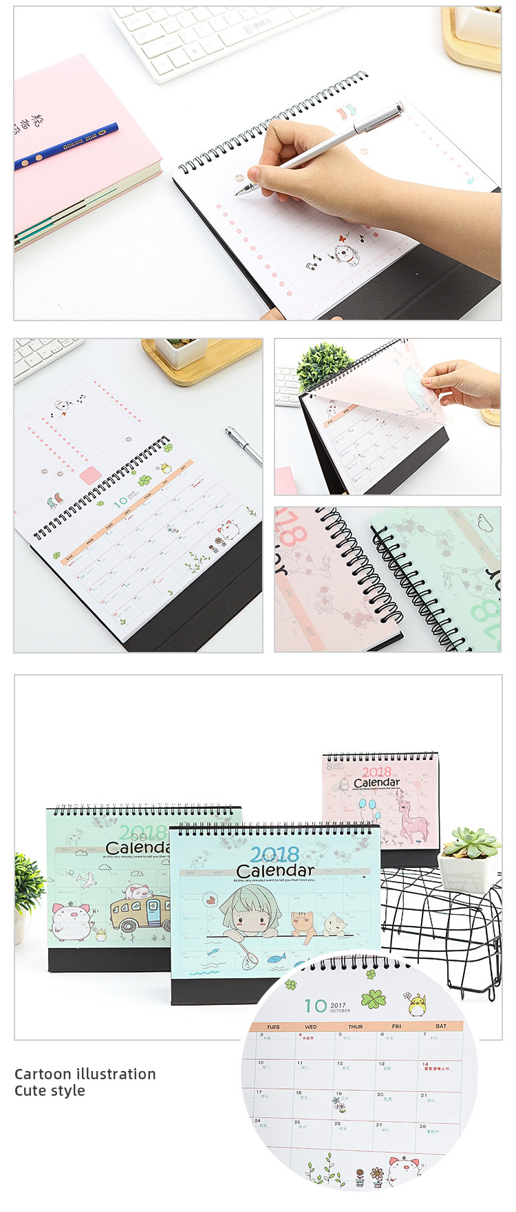 low moq small size custom made new design table stand monthly planner calendar