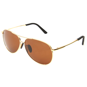 Custom Logo Sun Glasses Cheap Promotional Eco-Friendly Polarized Brown Lens Gold Metal Sunglass