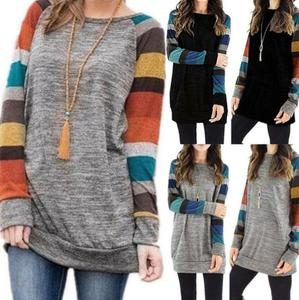 Ecoparty New Womens Crew Neck Striped Long Sleeve T-Shirt Ladies Casual Loose Tops Blouse