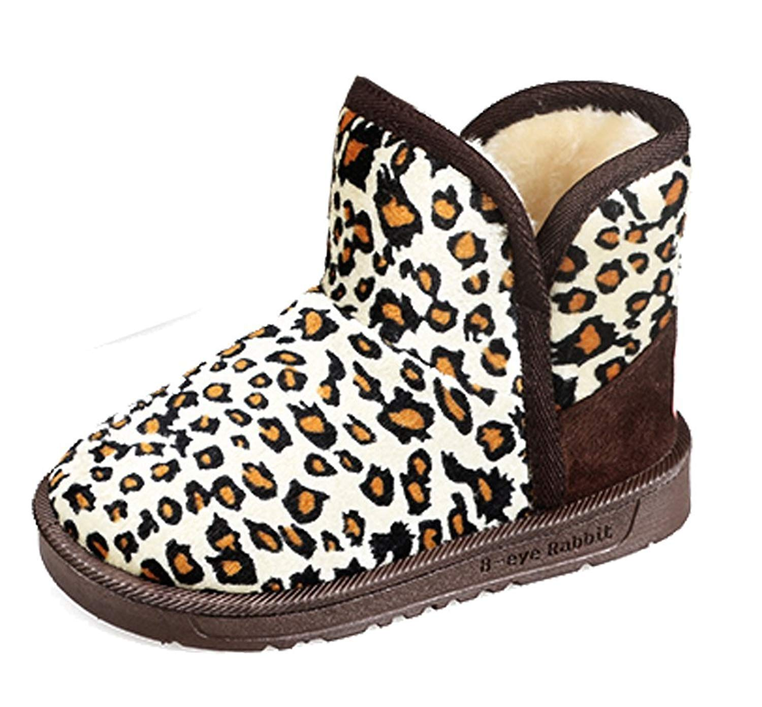 74fbe4411c57 Cattior Toddler Little Kid Leopard Fashion Winter Boots Shoes Kids Snow  Boots (13 M