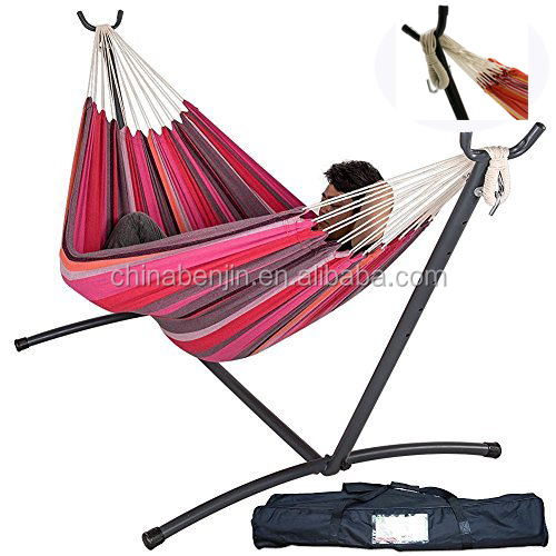 Outdoor Double Hammock with stand Quality Cotton Comfort and Easy to Use Portable Hammock Stand for Family Kids