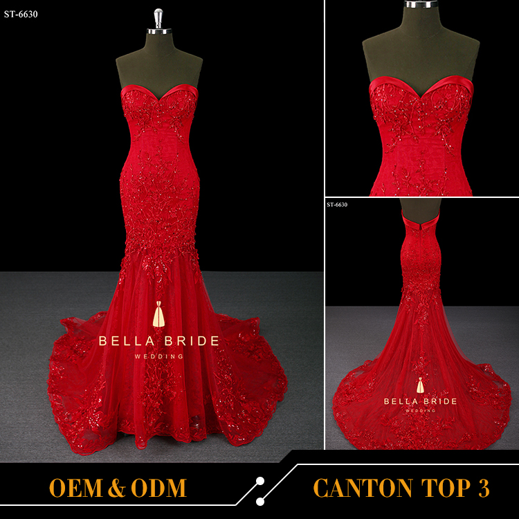 Luxury China red heavy embroidery dress trumpet evening dress 2017 new design