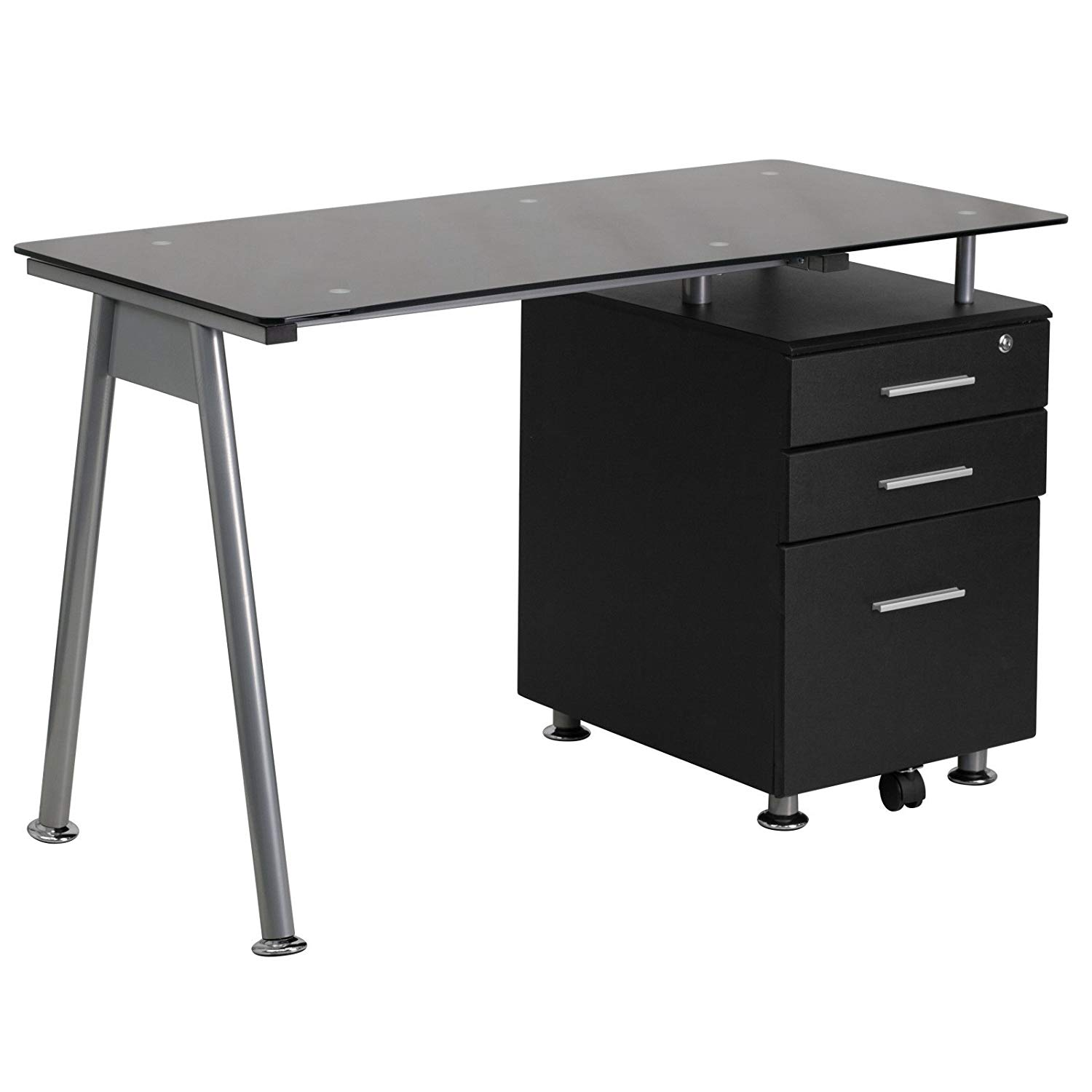 Black Glass Computer Desk 3-Drawer Pedestal, Black Tempered Glass Surface, File Drawer, Rectangular, Silver Bar Pulls, Office, Bundle Our Expert Guide Tips Home Arrangement