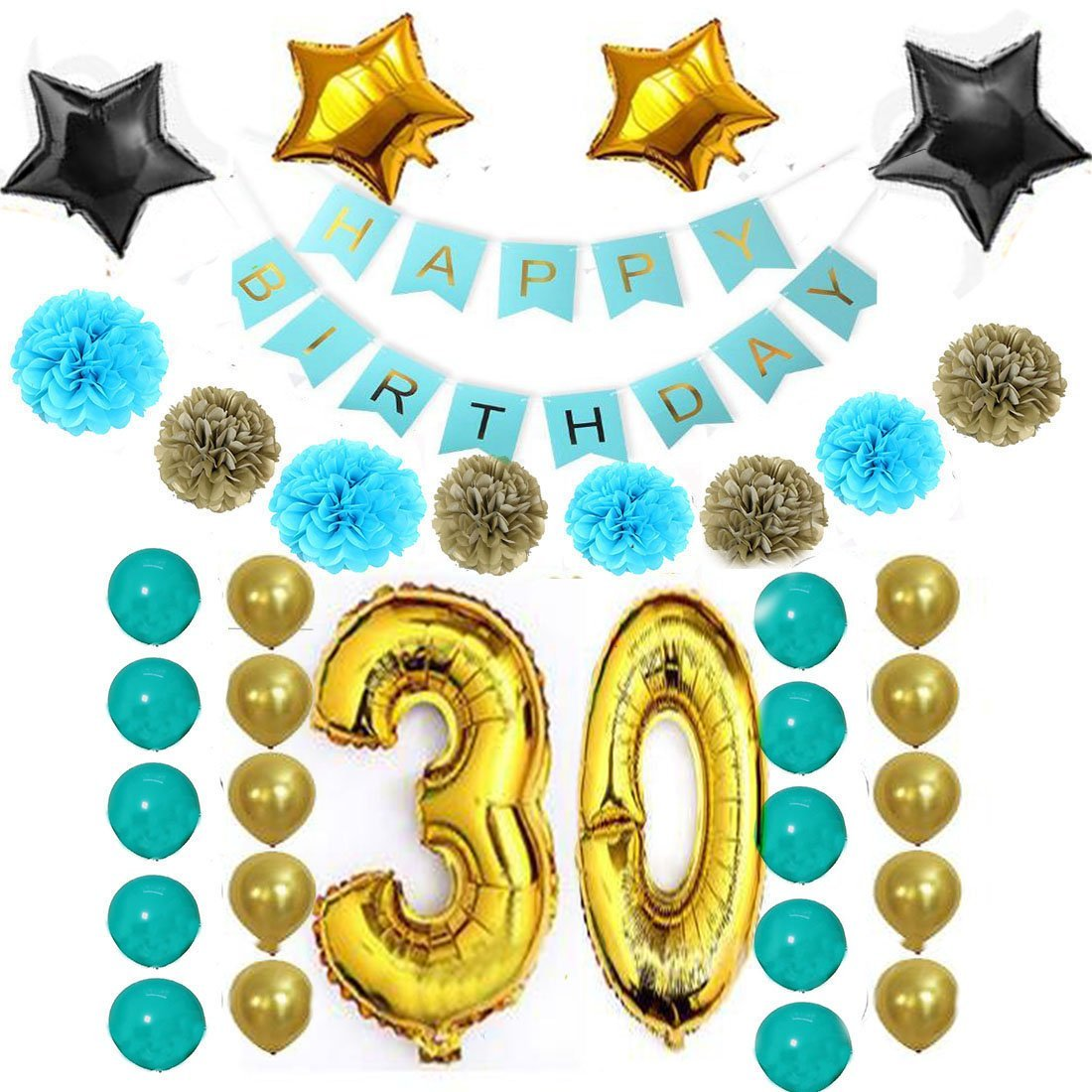 Little Chair 30th Baby Birthday Party Decoration Kits,Happy Birthday Banner,1st Gold Number Balloons,Stars Aluminum Balloon,Paper Flowers,Latex Balloon,Party Supplies (Blue)