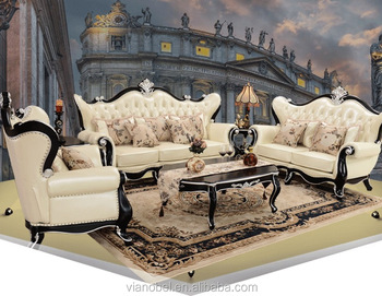 Italian Leather Sofa With Wood Trim