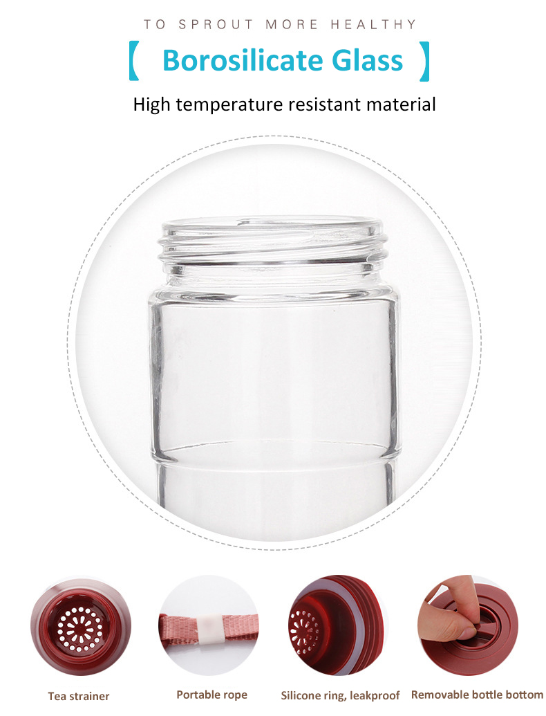 Luxury best quality plastic sleeve glass beverage water bottle for drink