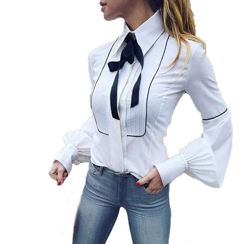 509ff13f1a Get Quotations · Kangma Women Long Sleeve Office Work Basic Button Bow Tie  Business Shirt T-Shirt Top