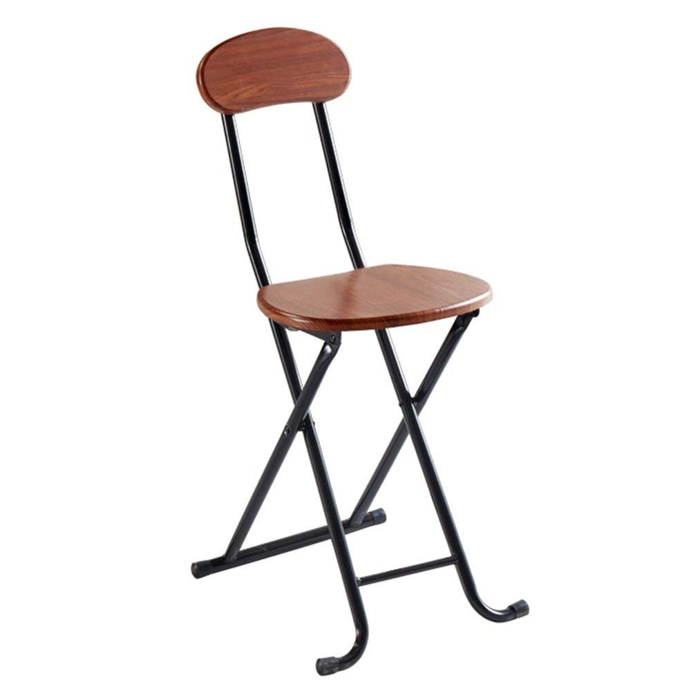 Barstools MAZHONG Easy Folding Chair Portable Home Stool Backrest Chair Dormitory Mini Chair Backrest Folding Stool (Color : A)
