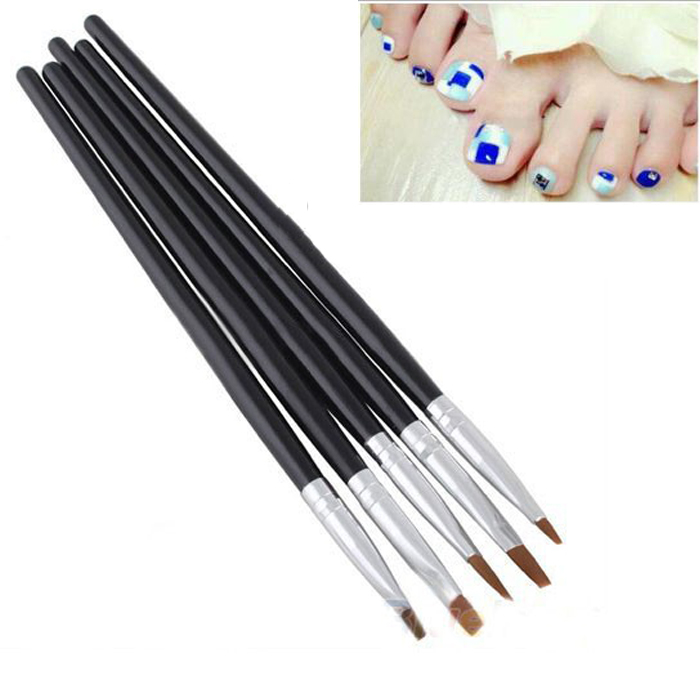 1Set 5PCS TRENDY 2-WAYS ACRYLIC UV GEL NAIL PAINTING DRAWING POLISH NAIL ART BRUSH PEN SET Size 2# 4# 6# 8# 10#