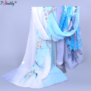 Phealthy New Individual African Scarf Multicolor Print chiffon Woman Hijab with flower