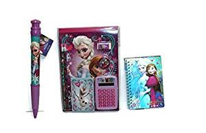 Disney Frozen 9 piece Bundle, memo pad, pencils, eraser, calculator, sheet notepad, pencil sharpener, 3-D journal and Jumbo pen