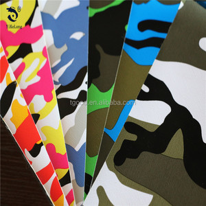 Lowest price 0.6mm camo printing fabric PVC leather for bags