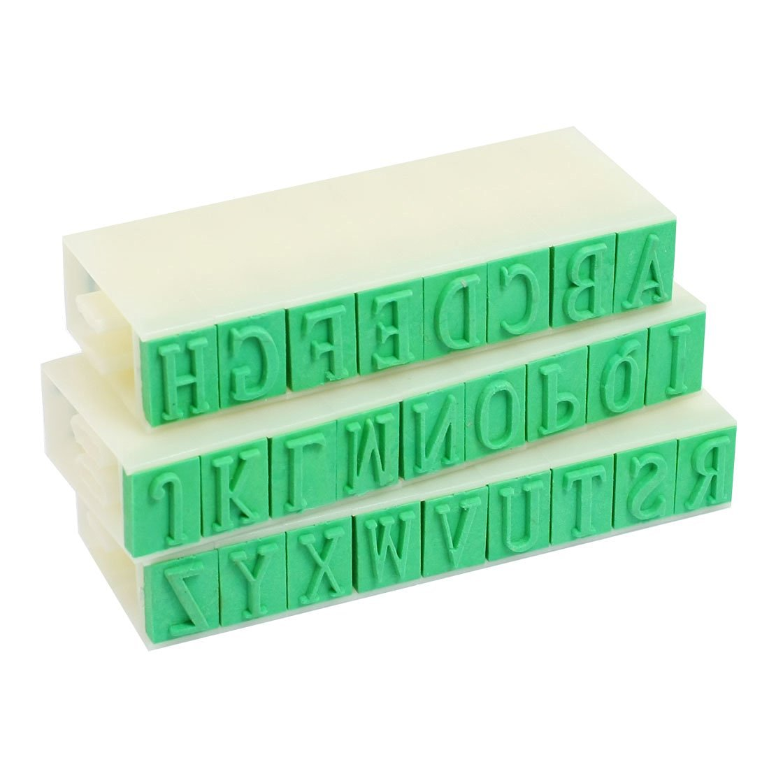 "uxcell Plastic 26 English Letters Alphabet Detachable Stamp Set Beige Green 0.4""x 0.3"""