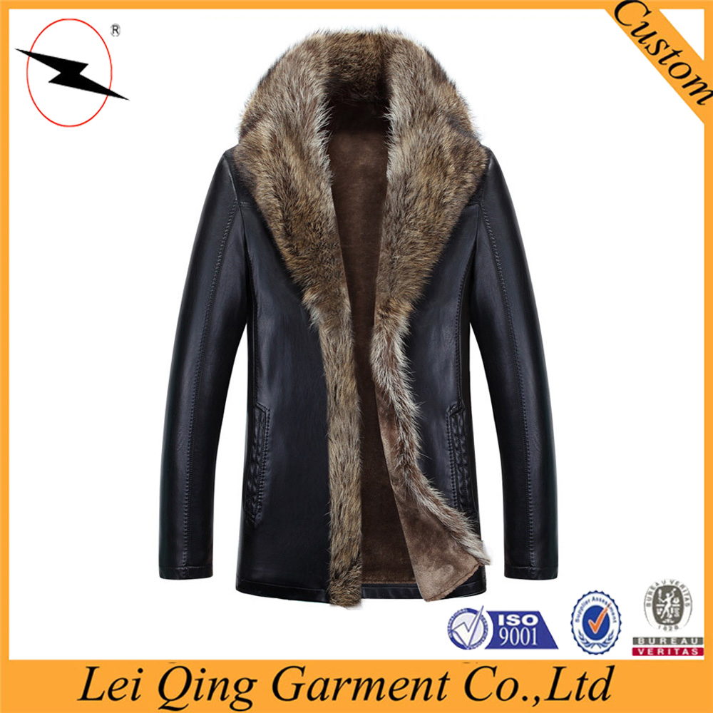 New fashion real black fur jackets for men