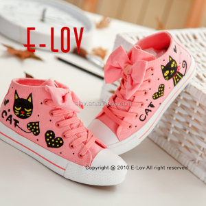fashion brand wholesale lovely cat graffiti shoes running men lace-up sneaker