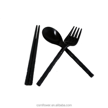 Reusable Black cutlery set, including plastic spoon knife and fork