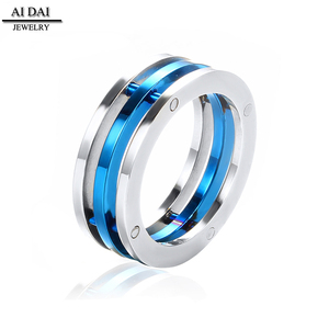 Jewelry Industrial Style Triple Bolted Blue Stainless Steel Combination Ring