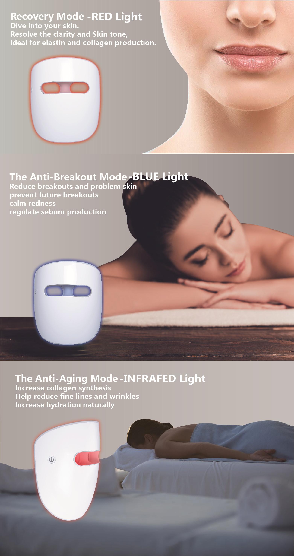 Corea migliore vendita all'ingrosso Fabbrica di Shenzhen OEM Medica clinica test superato 3 colori fototerapia LED maschera per il viso