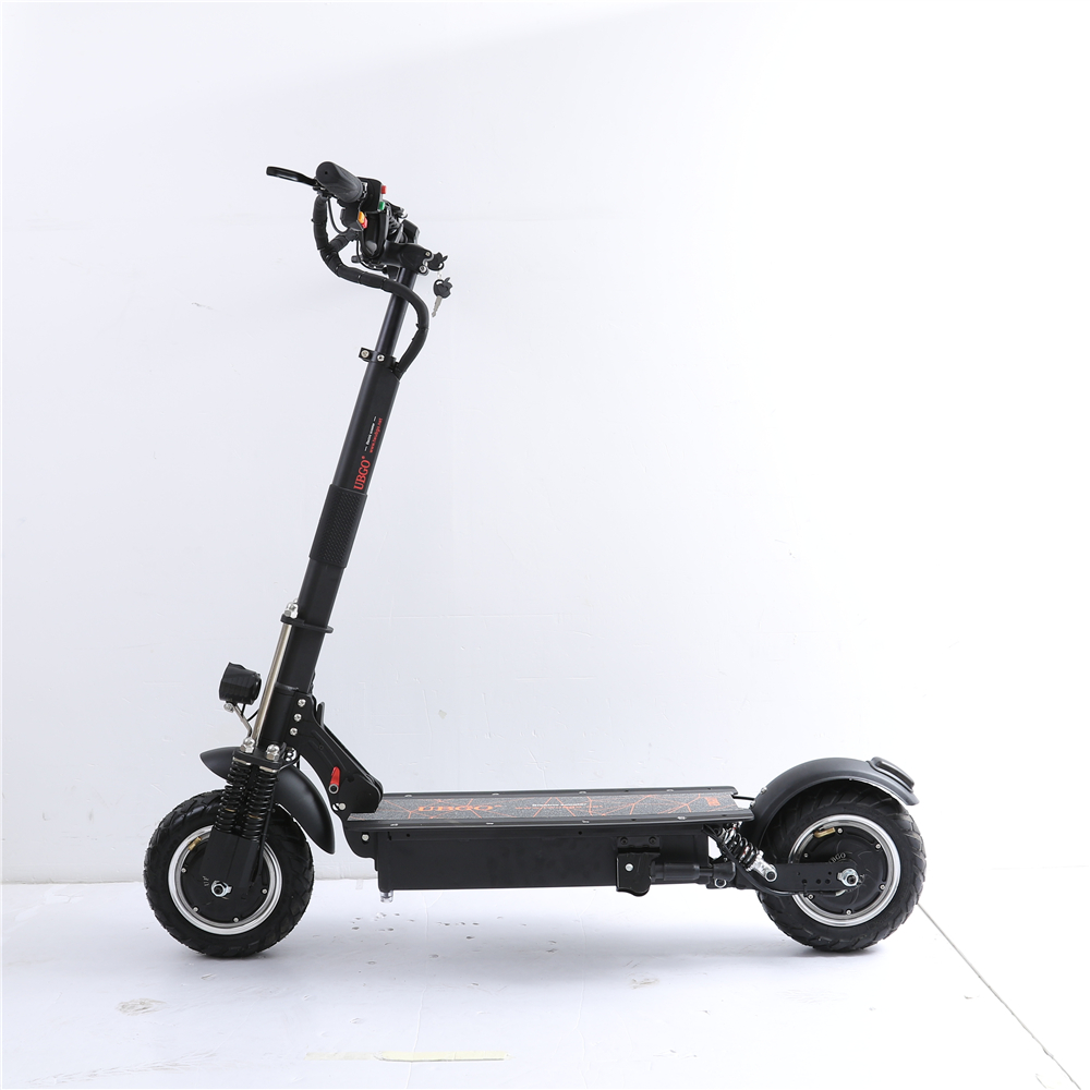 UBGO 1005+ Vacuum Tire Motor 52V Double Drive 2000W motor powerful electric scooter 10inch E-Scooter with Oil Brake, Black
