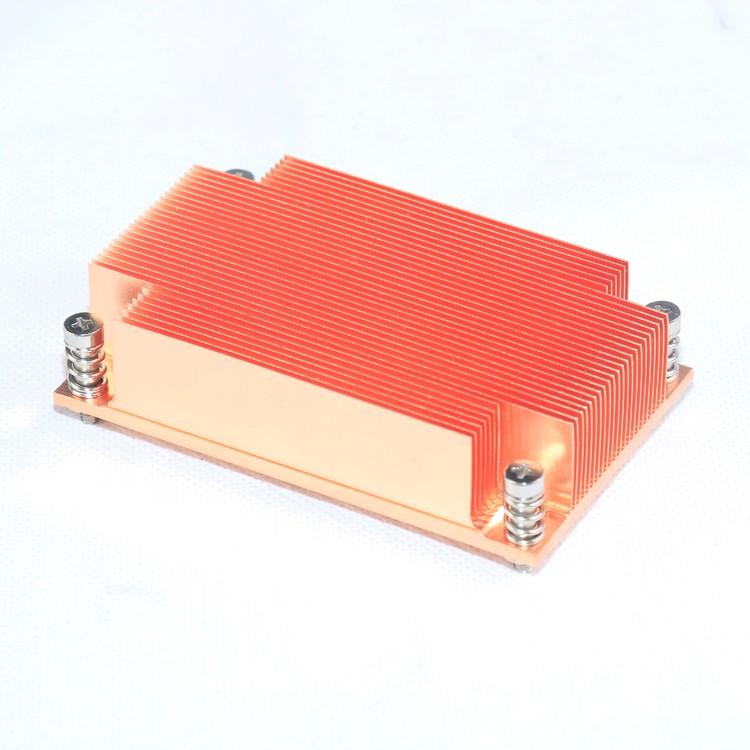 Customized passive copper extrusion  rectangle extruded heatsink 1U